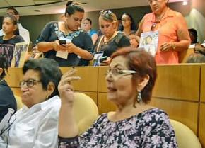 Human rights activist Miriam Elizabeth Rodríguez (center foreground) speaks up for family members of the disappeared