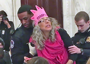 Activist Desiree Fairooz is arrested during a protest of Attorney General Jeff Sessions' confirmation hearing