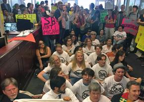 A May Day sit-in at Gov. Greg Abbott's office against the SB 4 hate bill