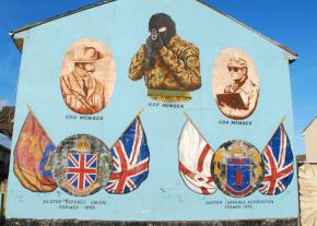 A mural in Belfast celebrates Ulster loyalist paramilitary groups