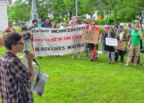 Rallying against far-right former Sheriff Joe Arpaio in Belchertown, Massachusetts