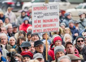 Protesters in Montreal rally against the theft of public money by aerospace corporation Bombardier