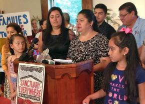 Juana Luz Tobar Ortega speaks to supporters after taking sanctuary in a Greensboro church