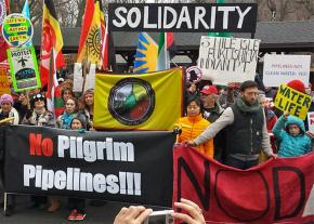 Ramapough and solidarity activists rally against the Pilgrim Pipeline in northern New Jersey