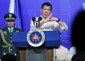 Philippines President Rodrigo Duterte addresses reporters during a press conference