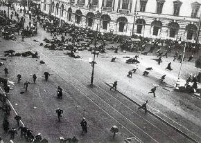 Troops fire on a demonstration of workers, soldiers and sailors in Petrograd during the July Days
