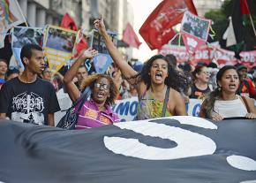 Public-sector employees march against austerity in Rio de Janeiro