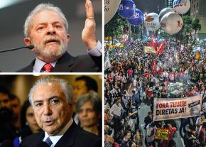 Clockwise from top left: Luiz Inácio Lula da Silva; mass march during a general strike against the government; Michel Temer
