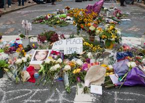A shrine at the site of the far-right terror attack in Charlottesville