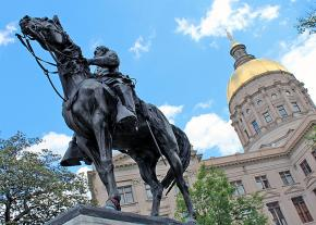 A statue of Confederate Gen. John B. Gordon stands outside the Georgia state Capitol