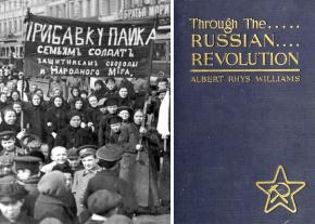 Left: a demonstration in Petrograd; right: cover of the 1921 edition of Williams' book