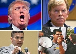 Clockwise from top left: Donald Trump, David Duke, Matthew Heimbach and Richard Spencer