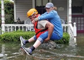 A Houston resident is rescued in the aftermath of Hurricane Harvey