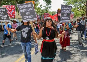 Indigenous activists lead a protest against anti-Native racism in Santa Fe, New Mexico