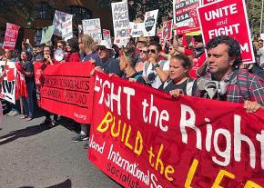 A socialist contingent hits the streets during Portland's march against the far right