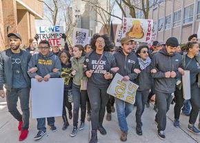 Students march against Trump's racism at the University of Wisconsin-Milwaukee