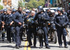 Berkeley police on the streets during protests against the alt-right