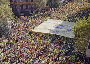 Thousands pour into the streets of Barcelona to demand Catalonian independence