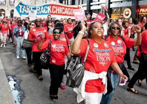 CTU members on the march in downtown Chicago