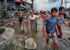 Residents of a Rohingya village forced from their homes