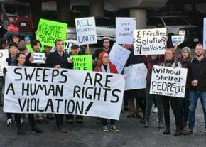 Protesters demand an end to homeless sweeps in Seattle, Washington
