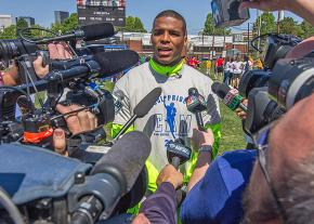 Carolina Panthers quarterback Cam Newson speaks to reporters