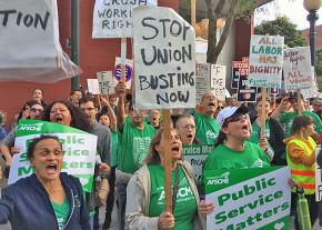 Workers rally against a union-busting organization in Washington state