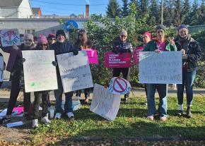 Abortion rights activists mobilize for a clinic defense in Poughkeepsie, New York