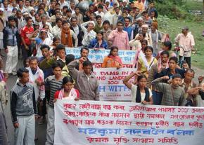 Farmers march to stop the construction of the Ranganadi River Dam in Assam, India