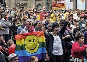 Rallying for marriage equality and LGBTQ liberation in Melbourne, Australia