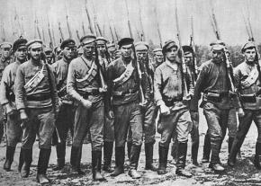 Red Army soldiers march into battle during the Russian Civil War