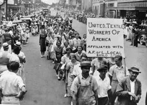 Striking textile workers march in Gastonia, North Carolina, during the Great Depression