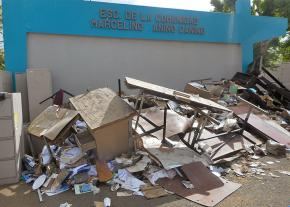 A ruined school in Puerto Rico after Hurricane Maria