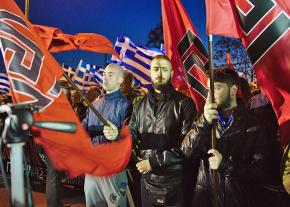 Members of the fascist Golden Dawn rally in Athens