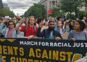 A student contingent at the March for Racial Justice