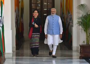 Aung San Suu Kyi of Myanmar (left) with India's right-wing Prime Minister Narendra Modi