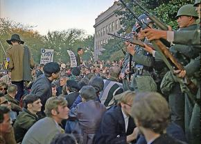 A mass protest outside the Pentagon against the Vietnam War