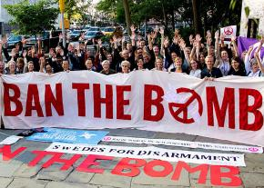 Peace activists rally against nuclear weapons in Stockholm, Sweden