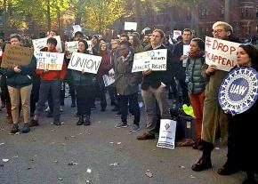 Graduate workers rally for fair union elections at Harvard University