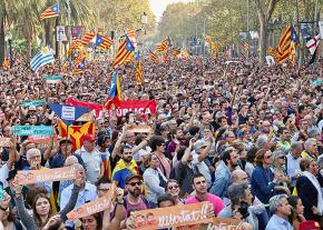 Protesters demand self-determination for Catalonia