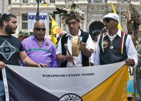 Members of the Ramapough Lenape Nation march against the Pilgrim Pipeline