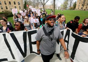 Students march against racism at the University of Wisconsin in Madison