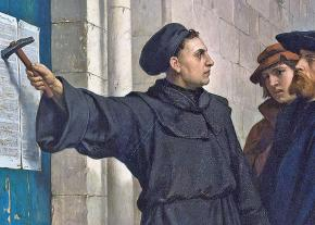 A depiction of Martin Luther posting his Ninety-Five Theses