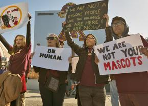 Native rights supporters protest the Washington football team mascot