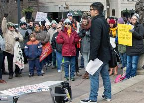 Activists rally against the Republican tax bill in Columbus, Ohio