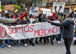 Protesters take to the streets of Barcelona against the slave trade in Libya
