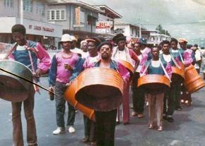 Steel pan musicians march in Port of Spain, Trinidad