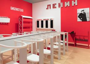 The recreated workers' club designed by Alexander Rodchenko at the Art Institute