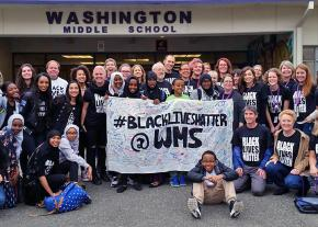 Students and teachers stand against racism at Washington Middle School in Seattle
