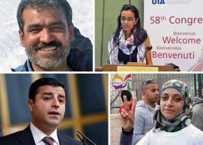 Clockwise from top left: Jihad Asa'ad Muhammad, Mahienour el-Massry, Shireen Issawi and Selahattin Demirtas